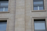 Facade of the Reichstag building -- patched bullet holes