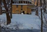 Barn, Swan & Creek Snow Scene