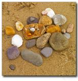 Shells, stones and sand