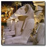 Line of Egyptian sculptures in front of Luxor hotel, Las Vegas, NV