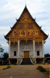 Vientiane . Wat That Luang Neua  with a beautiful facade depicting the story of Buddha's life.