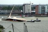 Samuel Becket Bridge in Rotterdam during its voyage to Dublin