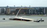 Samuel Becket Bridge in Rotterdam on its voyage to Dublin