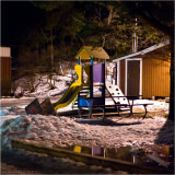 Daycare centres playground by night