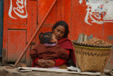 mother and child, selling peanuts