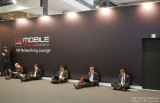 Visitors working at the Mobile World Congress 2011