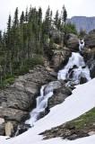 Roadside waterfall with snowpatch Glacier National Park Montana _DSC0508.JPG