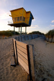 Beach tower and fence