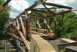 Restoring an old covered bridge. Near the town of Glen Iron, Pa.