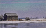 Barn by the Frozen Lake