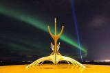 IMG_5298-Edit.jpg Aurora Borealis over the Sun Voyager (Icelandic: Sólfar) sculpture - Reykjavik - © A Santillo 2014