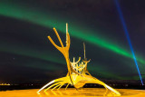 IMG_5300-Edit.jpg Aurora Borealis over the Sun Voyager (Icelandic: Sólfar) sculpture - Reykjavik - © A Santillo 2014