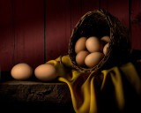 Brown Eggs and Wicker Basket