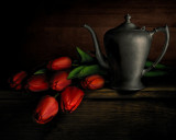 Tulips with Pewter Teapot
