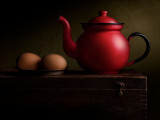 Brown Eggs with Red Teapot