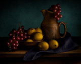 Lemons with Red Grapes and Pitcher