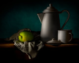 Green Apple with Kettle and Cup