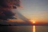 Heat haze over the Lake at sunset
