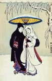 c. 1760 - Couple under Umbrella in Snow
