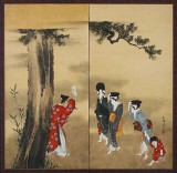 1760 - A Shinto Priest, Three Women, and a Child