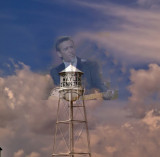 The Littlefield, TX water tower with a Waylon Jennings image overlay