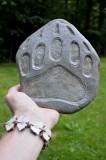 Bear track carved rock