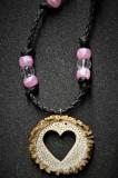 Antler burr heart pendant
