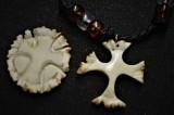 Antler burr cross pendant