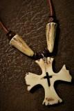 Antler cross w/antler beads