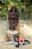 1/2 log face birdhouse beginning