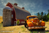 Red Barn with 1939 Dodge Stake Bed Truck