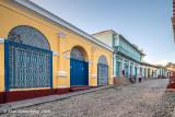 Blue Doors on a Cobblestone Street