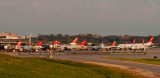 September 2007 - a large variety of Northwest Airlines aircraft at MSP at sunset