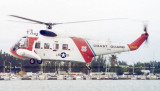 Early 70's - USCG Sikorsky HH-52A Sea Guard #CG-1383 helicopter in a SAR demo between Bayfront Park and Watson Island