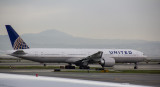 United B-777-300ER taxi out for take off at SFO, April 2017