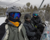 On the chair lift at Keystone with Camden and Ellie.