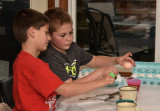 Cousins Coloring Easter Eggs