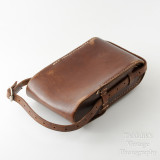 02 Vintage Brown Leather Case for Folding Camera - Hand Sewn Made in England.jpg