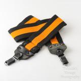 02 Vintage Kaiser Wide Camera Strap Orange and Black Strip with Locking Strap Lugs.jpg