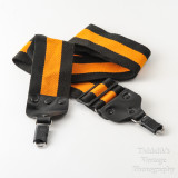 01 Vintage Kaiser Wide Camera Strap Orange and Black Strip with Locking Strap Lugs.jpg