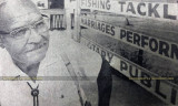 1950's-1960's? - Eddie DeLarm in his tackle shop, trading post and Greyhound Bus Station on Okeechobee Road