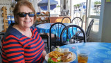 September 2016 - Karen about to dine on a great dinner at the Kentmorr Restaurant and Crabhouse on Kent Island, Maryland
