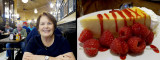 May 2016 - Karen and our dessert at Harry Caray's Seventh Inning Stretch restaurant at Chicago Midway Airport