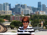 May 2016 - Karen with downtown Miami/Brickell area in the background
