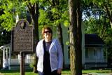 May 2016 - Karen at Reagan Way in the park next to President Ronald W. Reagan's boyhood home in Dixon, Illinois