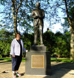 May 2016 - Karen with a statue of President Ronald W. Reagan in the park next to his boyhood home in Dixon, Illinois