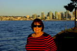 November 2016 - Karen on Naval Air Station North Island with San Diego in the background