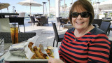 November 2016 - Karen about to dine on some great seafood at Sea180 Coastal Tavern in downtown Imperial Beach, California