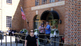 June 2015 - Karen in front of the National Baseball Hall of Fame in Cooperstown, New York