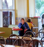 November 2016 - Karen after a late lunch at the original Pollo Tropical on Douglas Road and NW 7th Street, Miami